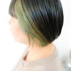 ダブルブリーチ インナーカラー ボブ ブリーチオンカラー ヘアスタイルや髪型の写真・画像