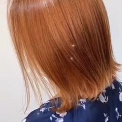 オレンジ アプリコットオレンジ ブリーチカラー ボブ ヘアスタイルや髪型の写真・画像