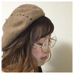ヘアアレンジ ベレー帽 ナチュラル グラデーションカラー ヘアスタイルや髪型の写真・画像