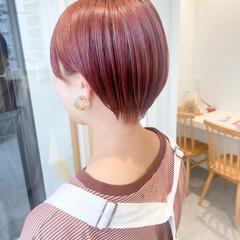 ショートボブ ピンクベージュ ショートヘア ナチュラル ヘアスタイルや髪型の写真・画像