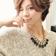 かわいい 透明感 ショート フェミニン ヘアスタイルや髪型の写真・画像