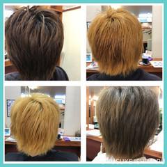 グレー ダブルカラー モード ベージュ ヘアスタイルや髪型の写真・画像