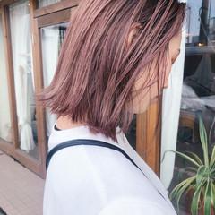 ボブ ミニボブ ピンクベージュ ショートボブ ヘアスタイルや髪型の写真・画像