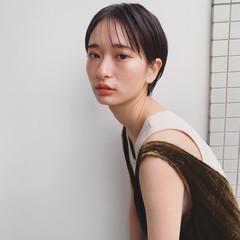 アンニュイほつれヘア 黒髪 外国人風 ショート ヘアスタイルや髪型の写真・画像