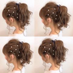 簡単ヘアアレンジ フェミニン ミディアム ポニーテール ヘアスタイルや髪型の写真・画像