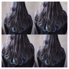 グレー ロング ストリート インナーカラー ヘアスタイルや髪型の写真・画像