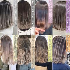 エレガント アッシュグレー グラデーションカラー ミディアム ヘアスタイルや髪型の写真・画像
