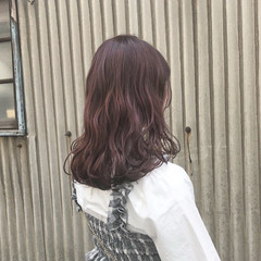 ガーリー グレージュ セミロング ピンク ヘアスタイルや髪型の写真・画像