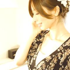 結婚式 大人かわいい ミディアム パーティ ヘアスタイルや髪型の写真・画像