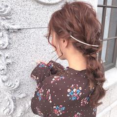 簡単ヘアアレンジ セミロング ヘアアレンジ 編みおろし ヘアスタイルや髪型の写真・画像