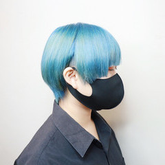 ショートヘア モード ブリーチ ミニボブ ヘアスタイルや髪型の写真・画像