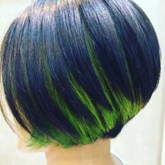 ハイライト 黒髪 モード グラデーションカラー ヘアスタイルや髪型の写真・画像
