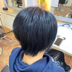 イメチェン ブルーアッシュ ショートヘア モード ヘアスタイルや髪型の写真・画像