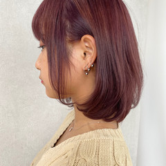 ガーリー パープル ピンクパープル レイヤーボブ ヘアスタイルや髪型の写真・画像