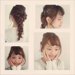 ヘアアレンジ ストリート 結婚式 編み込み ヘアスタイルや髪型の写真・画像