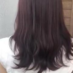 ピンクラベンダー ラベンダー セミロング フェミニン ヘアスタイルや髪型の写真・画像
