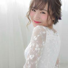 結婚式 成人式 ヘアアレンジ セミロング ヘアスタイルや髪型の写真・画像