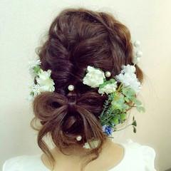 ブライダル 結婚式 編み込み ヘアアレンジ ヘアスタイルや髪型の写真・画像