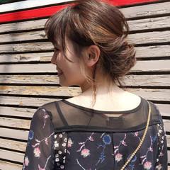 ミディアム ヘアアレンジ 簡単ヘアアレンジ 女子会 ヘアスタイルや髪型の写真・画像