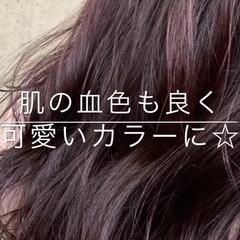 フェミニン ピンク 透明感 デート ヘアスタイルや髪型の写真・画像