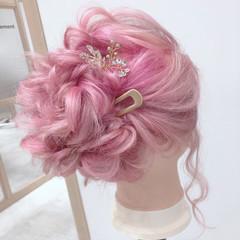 簡単ヘアアレンジ ヘアアレンジ フェミニン ミディアム ヘアスタイルや髪型の写真・画像