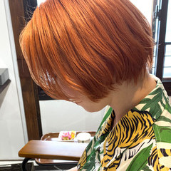 ショート ショートボブ ストリート オレンジカラー ヘアスタイルや髪型の写真・画像
