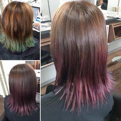 ブリーチカラー ナチュラル カラートリートメント ミディアム ヘアスタイルや髪型の写真・画像