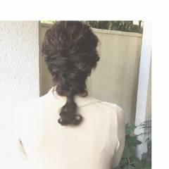 編み込み 波ウェーブ ヘアアレンジ ミディアム ヘアスタイルや髪型の写真・画像