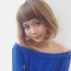 ベージュ 外国人風カラー オン眉 ハイライト ヘアスタイルや髪型の写真・画像