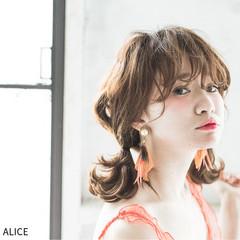 ガーリー 夏 ヘアアレンジ ショート ヘアスタイルや髪型の写真・画像
