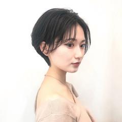 簡単ヘアアレンジ デート ショート 黒髪 ヘアスタイルや髪型の写真・画像