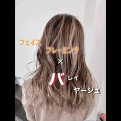 セミロング メッシュ グラデーション グラデーションカラー ヘアスタイルや髪型の写真・画像