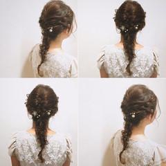ヘアアレンジ 結婚式 編み込み 波ウェーブ ヘアスタイルや髪型の写真・画像