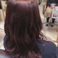 ラズベリーピンク トリートメント ピンクカラー セミロング ヘアスタイルや髪型の写真・画像