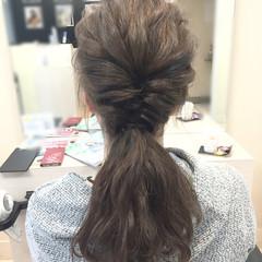 ヘアアレンジ ロング アッシュ ポニーテール ヘアスタイルや髪型の写真・画像