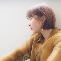 ミニボブ ショートボブ シースルーバング ナチュラル ヘアスタイルや髪型の写真・画像