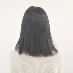 ガーリー ダークグレー セミロング グレージュ ヘアスタイルや髪型の写真・画像