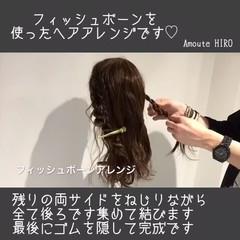 フィッシュボーン セミロング デート 簡単ヘアアレンジ ヘアスタイルや髪型の写真・画像