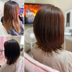 髪質改善 ウルフカット 髪質改善カラー ミディアム ヘアスタイルや髪型の写真・画像