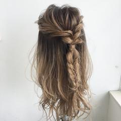 ガーリー ハーフアップ ロング ヘアアレンジ ヘアスタイルや髪型の写真・画像