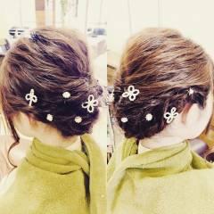 アップスタイル ガーリー 和装 編み込み ヘアスタイルや髪型の写真・画像