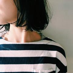 黒髪 ナチュラル 透明感 切りっぱなし ヘアスタイルや髪型の写真・画像