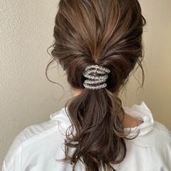 ナチュラル ヘアアレンジ セミロング ローポニー ヘアスタイルや髪型の写真・画像