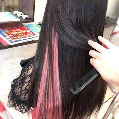 ストレート ロング インナーカラー エクステ ヘアスタイルや髪型の写真・画像