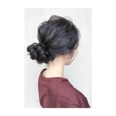 ナチュラル 簡単ヘアアレンジ 黒髪 デート ヘアスタイルや髪型の写真・画像