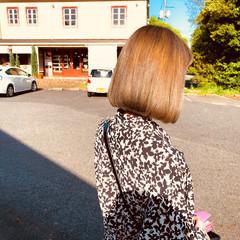 ガーリー ミルクティーグレージュ グレージュ ボブ ヘアスタイルや髪型の写真・画像