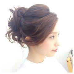 謝恩会 大人かわいい 結婚式 セミロング ヘアスタイルや髪型の写真・画像