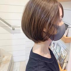 グレージュ ベージュ ショート ミニボブ ヘアスタイルや髪型の写真・画像