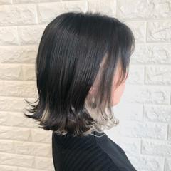 ホワイトカラー エレガント インナーカラーホワイト インナーカラー ヘアスタイルや髪型の写真・画像