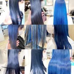 ネイビーブルー フェミニン ブルージュ インナーブルー ヘアスタイルや髪型の写真・画像